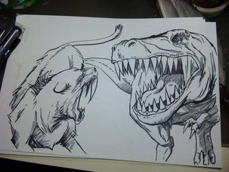 saber-tooth vs T-rex by Yumezaka