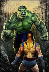 Hulk Vs Wolverine - Commission 2017 by axlsalles