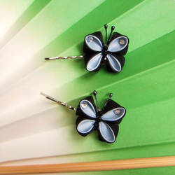 Blue butterflies kanzashi pins by elblack