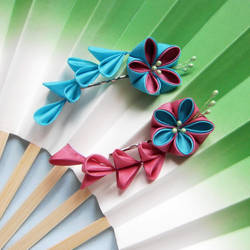 Reversed colours kanzashi by elblack