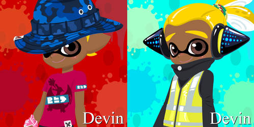 Devin Pokemon Red Splatfest and Agent Devin by Charchu-Devin