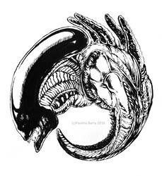Inktober Day 7: Alien by shmekldorf