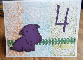 Hippo 4th birthday card by kdragon16