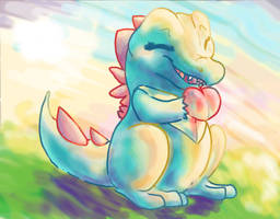 Totodile's morning snack by Dollfins