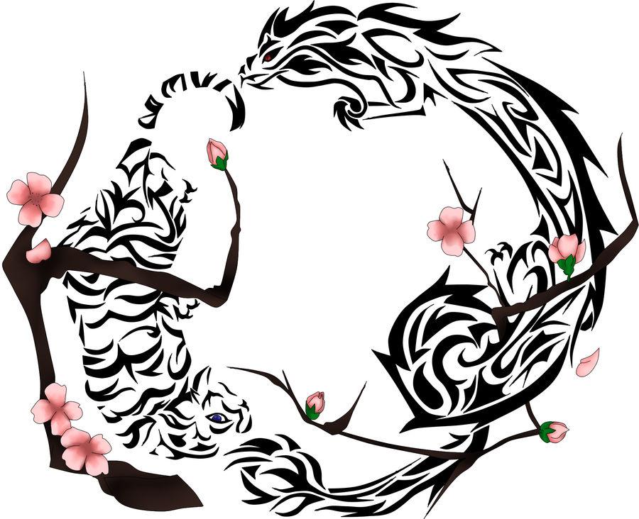 Tiger Dragon Cherry Blossom Tattoo By Robinsfantasy On Deviantart