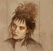 Daily Sketch 02: Winona Ryder in Beetlejuice by artandwine365