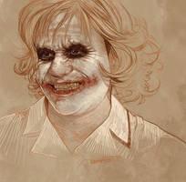 Daily Sketch 35: Heath Ledger as Joker by artandwine365