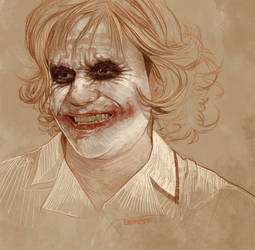 Daily Sketch 35: Heath Ledger as Joker by artandwine365