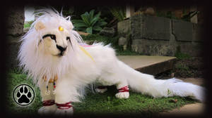 Amaterasu the sun goddess lion poseable art doll! by CreaturesofNat
