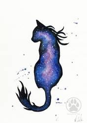 Purple Nebula Cat Watercolour Painting. by CreaturesofNat