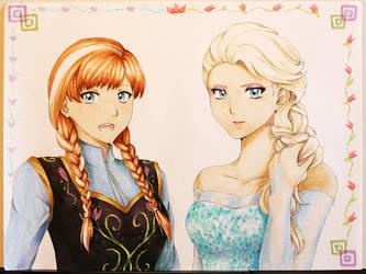 Commission - Anna and Elsa by suishouyuki
