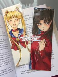Handmade Bookmarks (Usagi and Rin) by suishouyuki