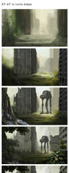 AT-AT in ruins steps by greensandsguy