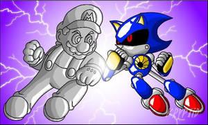 Metal Mario vs Metal Sonic by Kryptid