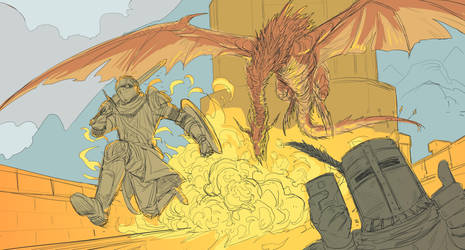 Dark Souls - Escape from the overheat with Solaire by amarcus88LG