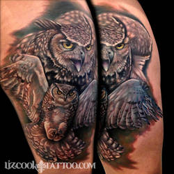 Liz Cook Tattoo Flying Owls Instagram by LizCookTattoo