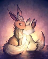 [Pokemon] Flareon and Fennekin by Nekodox
