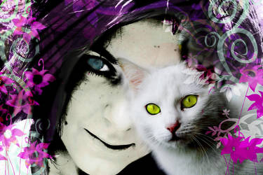 my sister and her cat by pinkonhead