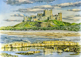 Incoming tide....Bamburgh Castle by jeffsmith1955