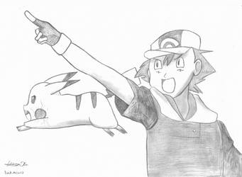 Ash And Pikachu by luckiness13