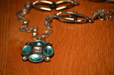 Silver Necklace With Blue Crystal Brooche by eca002
