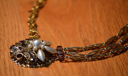 Gold Necklace with Purple Brooche by eca002