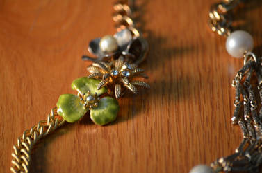 Gold Antique Flower Necklace by eca002