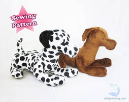 Laying Dog Plush Sewing Pattern by dollphinwing