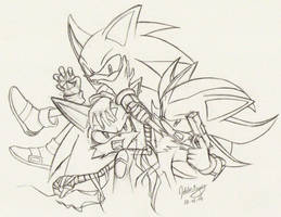 +Doodle+ Sonic, Shadow, Echono by goldhedgehog