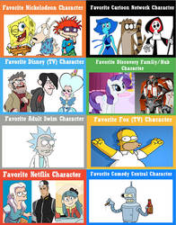 Favorite Animated Characters By Channels V2 by Ammoniteling