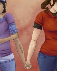 Sadzombiegirls: Ellie and Clementine by OverlordNeon