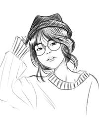 Glasses Girl Sketch 01 by VictorDinakara