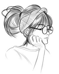 Glasses Girl Sketch 02 by VictorDinakara