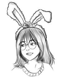 Glasses Girl Sketch 04 by VictorDinakara