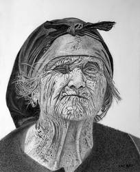 Old Weathered Woman with One Good Eye by kennyc
