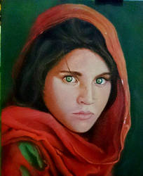 Afghan girl oil painting by makseph