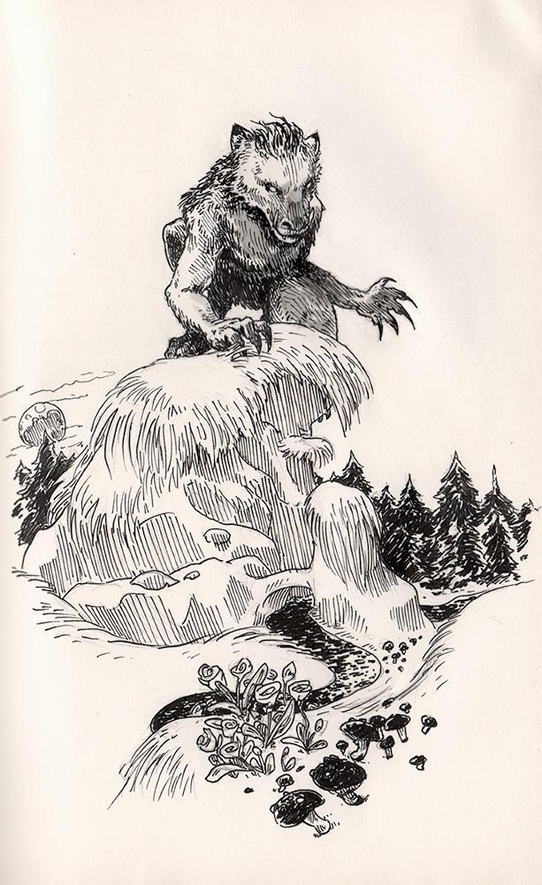 Inktober: Lycanthrope by evanjensen