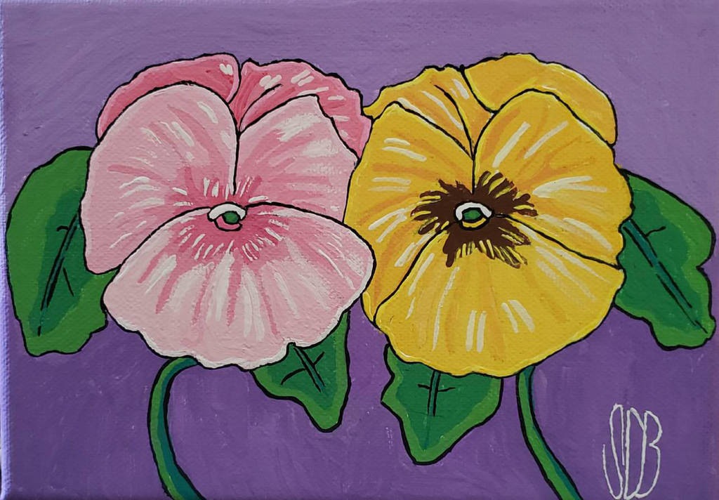 Pink n Yellow Pansies by WowLovely88