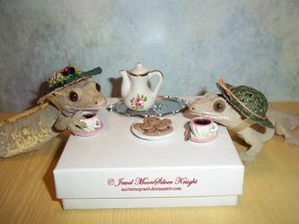 GECKO LADIES HAVING TEA by Heather-Chrysalis
