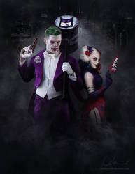 Arkham's Joker and Harley by denkata5698