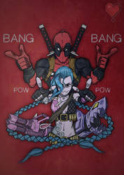 Character Team Up: Deadpool and Jinx by TooManyContinues