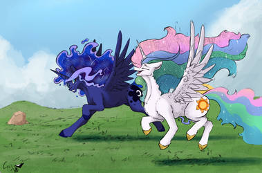 Full res running horsies that go neigh sometimes by Greyscaledraws