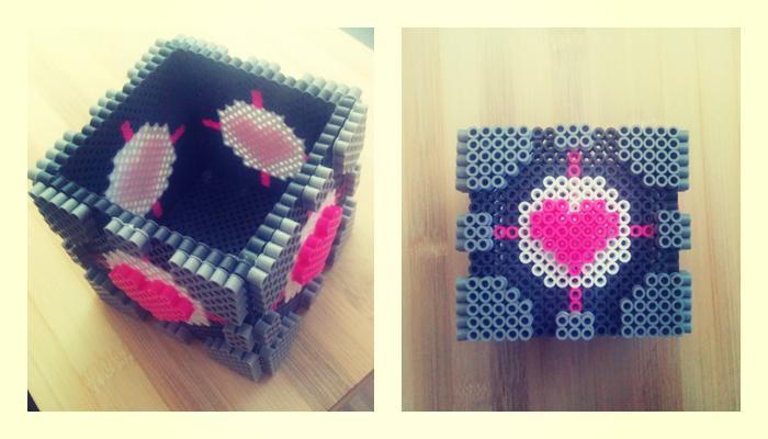 Companion Cube Perler by Aeryn-Seoung