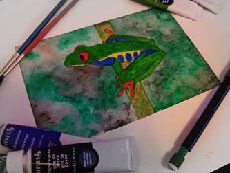 Tree Frog Watercolor by InuHalfDemon