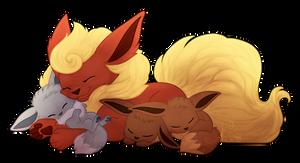 Mama Flareon and her Babies by NattiKay