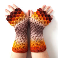 Ashes and Flames Dragon Gloves by FearlessFibreArts