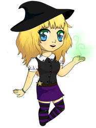 Halloween Witch Chibi by SakuraDrawingPencil