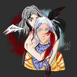Michael (my oc) and Shaman (oc Roxi1142) by XKarKaraX