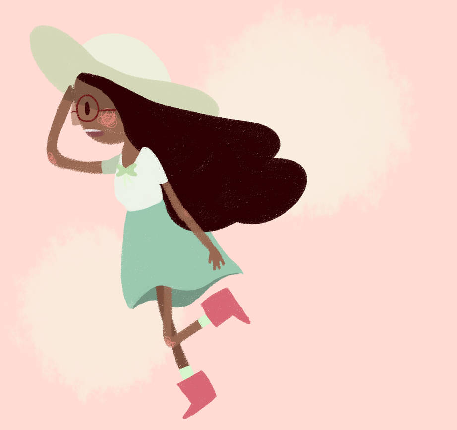 really quick warmup doodle of Connie from Steven Universe who is a total babe let me tell you also i missed doing scribbley-lineless-crayon pieces