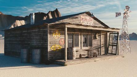 1950s Gas Station in Desert by JoeyBlendhead